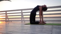 Lady yoga pose in morning YouTube Thumbnail template