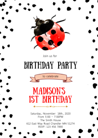 Ladybug birthday party invitation A6 template