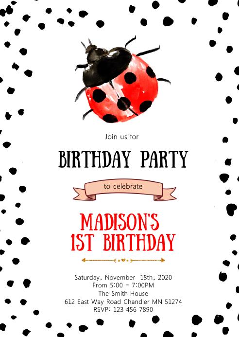 Ladybug birthday party invitation A6 template
