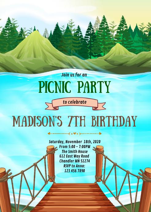 Lake picnic birthday party invitation