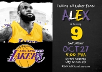 Lakers Birthday Invitation A6 template