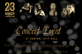 landscape black and gold concert event band template with four picture
