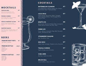 Landscape Cocktail Menu Templates Flyer (US Letter)