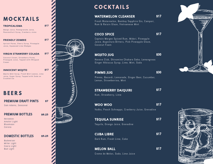 Customize Free Cocktail Menu Templates Postermywall