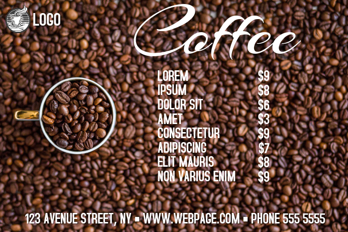 landscape coffee menu template