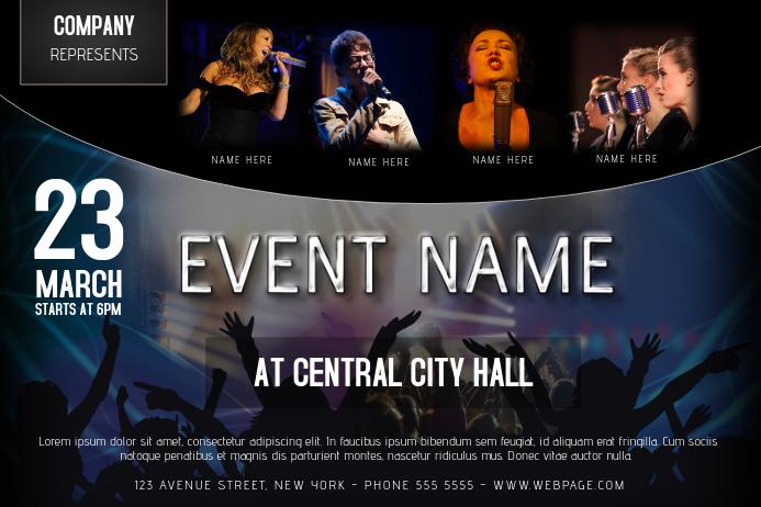 landscape concert template with four 4 singer