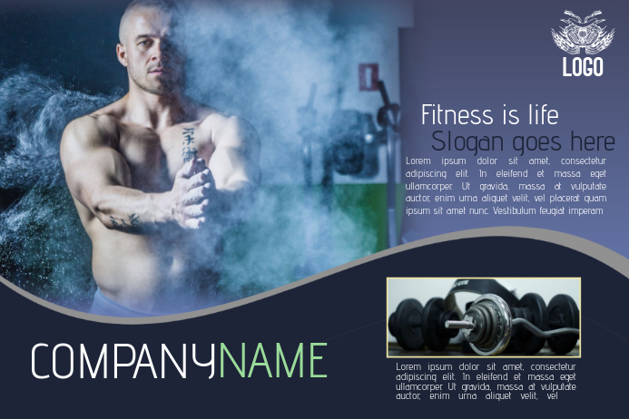 landscape fitness gym flyer template blue multipurpose