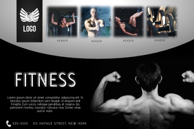 landscape fitness gym health flyer template dark black
