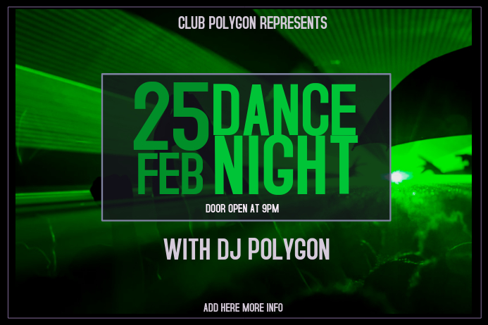 landscape green dance night club event poster template purple ...