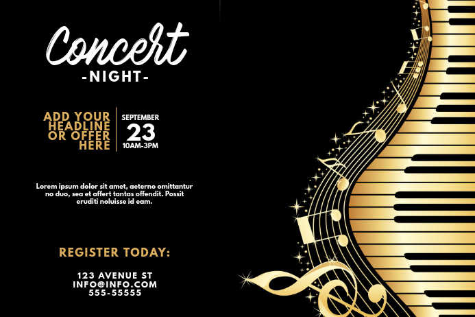 Landscape Piano Concert Music Night Flyer Template
