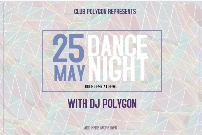 landscape polygon dance night club event poster template purple ...