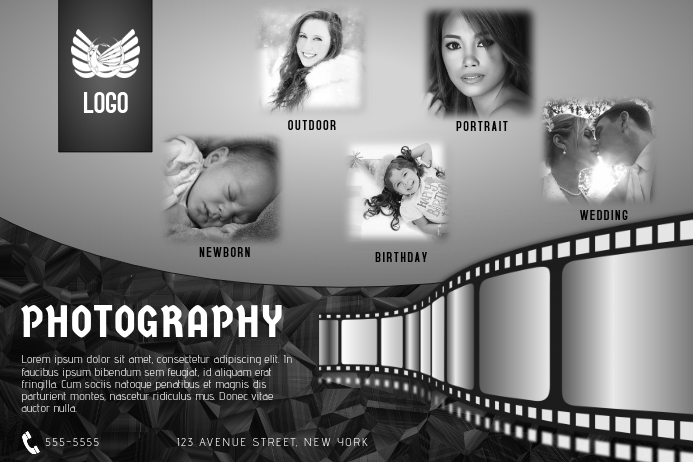 black and white photography flyer template landscape