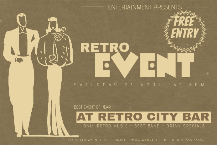 landscape retro event flyer template