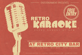 landscape retro music karaoke night event flyer template