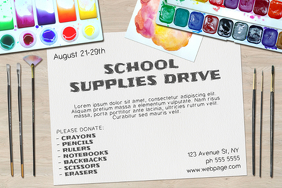 Landscape School Supplies Drive Poster Flyer Template