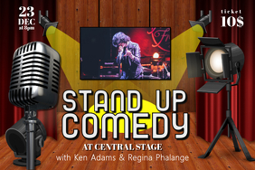 Landscape Stand up Comedy Event Flyer Template Poster