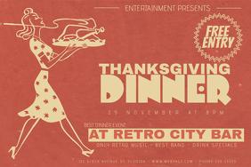 Landscape Thanksgiving Dinner Retro Flyer Template