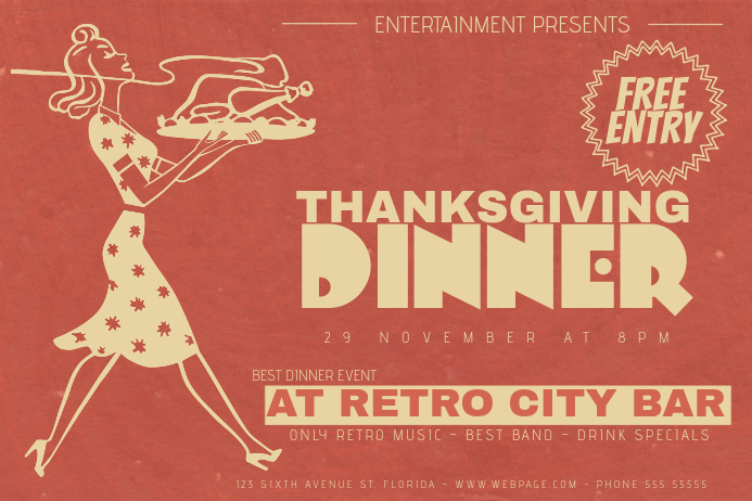Landscape Thanksgiving Dinner Retro Flyer Template