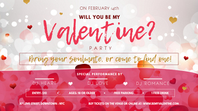 Landscape Valentine Party Digital Display Ekran reklamowy (16:9) template