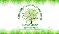 Landscaping Business Card Green Leaf Shine Kartu Bisnis template