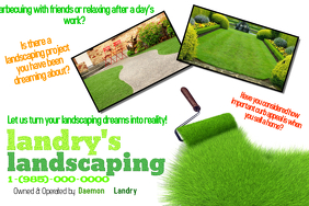 Landscaping Lawn Cut Trim Yard Garden Service Small Business Flyer