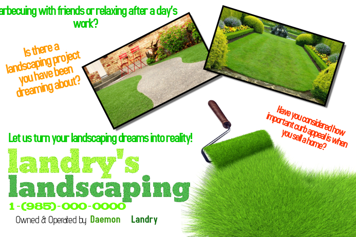 Landscaping Lawn Cut Trim Yard Garden Service Small Business Flyer.  Customize Template