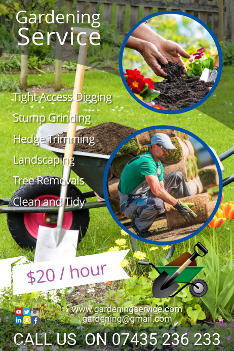 Landscaping service poster 海报 template