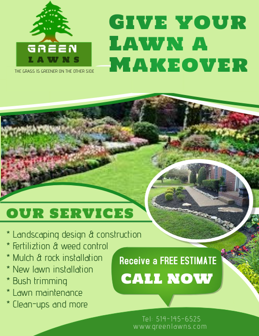 Landscaping Services Flyer (US-Letter) template
