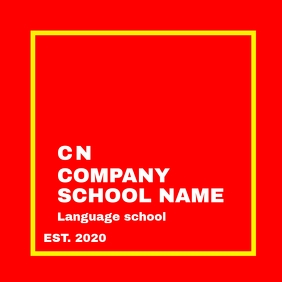 Language School red and white and yellow logo