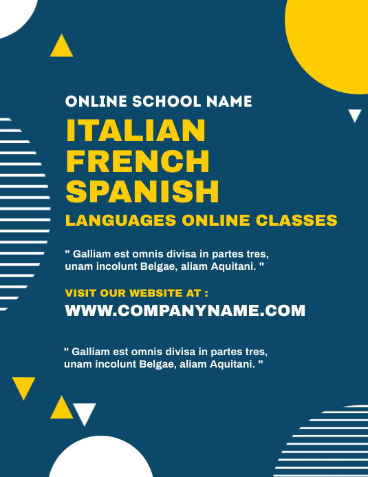 Languages online classes flyer template