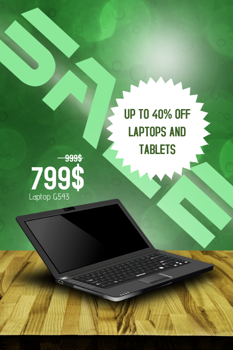 laptop electronics sale poster template with product replace