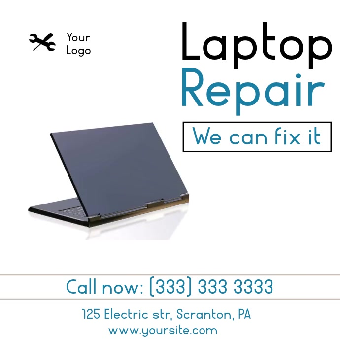 Laptop Repair animation video ad Vierkant (1:1) template
