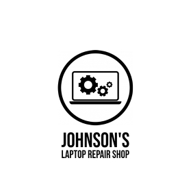Laptop repair shop service logo