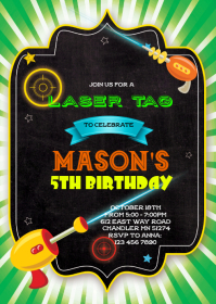 Laser tag birthday invitation