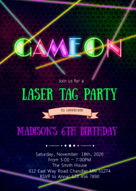 Laser tag birthday party invitation A6 template