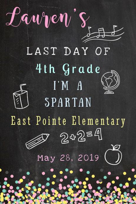 Last Day of School (Girl) Photo Board