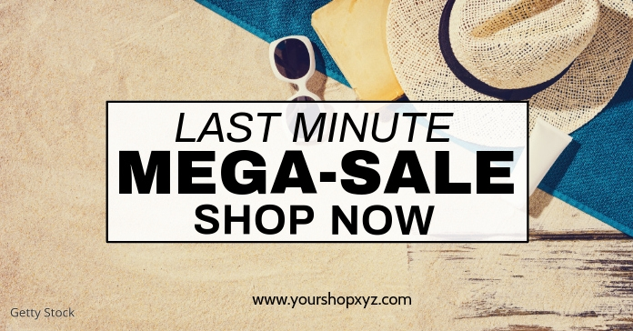 Last minute MEGA Sale Advert Shopping Discount Promo Beach