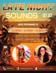 Late Night Caribbean Party Flyer Template Рекламная листовка (US Letter)