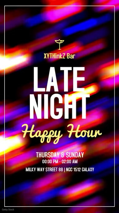 late night happy hours template story ad bar Historia de Instagram