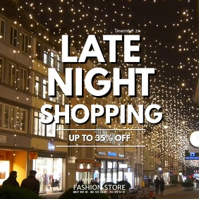 Late Night Shopping retail Store Sale Event