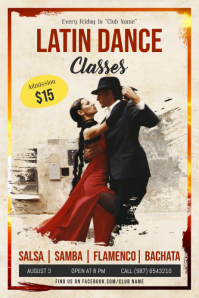 Latin Dance Classes Poster Template