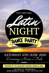 Latin Dance Night Video Poster template