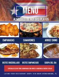 Latin Food Boricua Puertorican Menu Flyer (US Letter) template