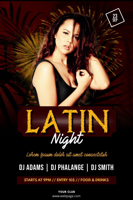 Latin Salsa Party Night Flyer Template Póster