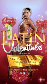 Latin Valentine's Party Display digitale (9:16) template