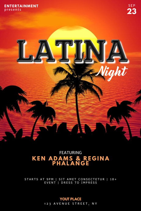 Latina Summer night Flyer template