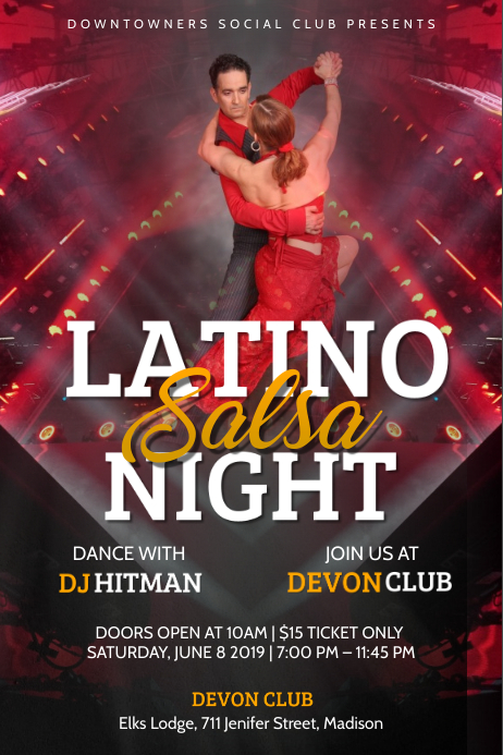 Latino Salsa Night Poster template