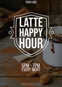 Latte Happy Hour flyer A4 template