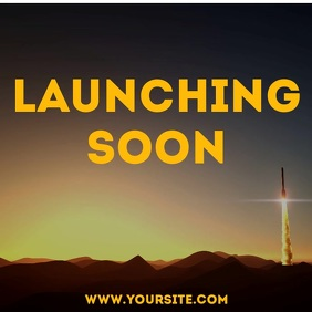 Launching soon rocket footage video Square (1:1) template