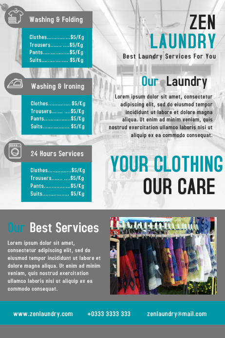 Laundry business flyer template design